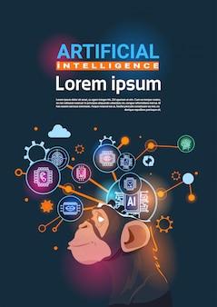 Aap hoofd met cyber brain cog wiel en versnellingen concept van kunstmatige intelligentie verticale banner
