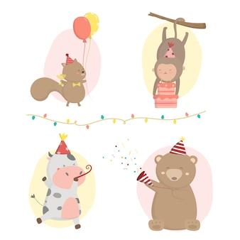 Aap, koe, beer, eekhoorn, voorbereiding verjaardagsfeestje samen versierden ze de zaal met ballonnen en lichtjes. en maak een papieren shooter klaar voor een feestje