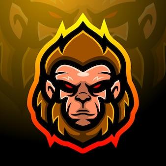 Aap mascotte esport logo ontwerp
