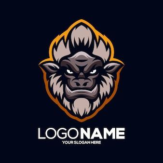 Aap mascotte logo ontwerp illustratie