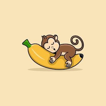 Aap met banaan logo ontwerp vector egale kleur cartoon schattig illustratie