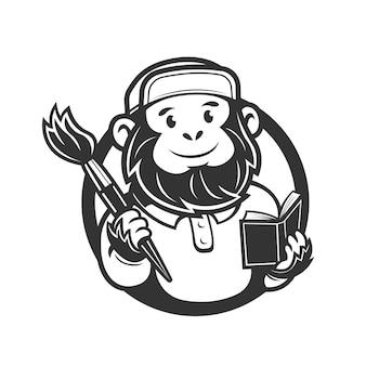 Aap met borstels en een mascotte van het boeklogo van kunstklassen vectorillustratie