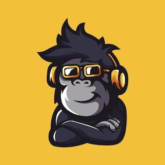 Aap met bril en koptelefoon mascotte logo-ontwerp