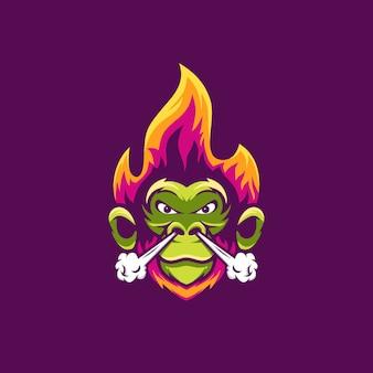 Aap met geweldige illustratie van vuur en rook