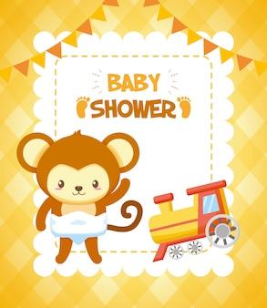 Aap met trein voor baby shower kaart