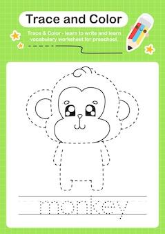 Aap-trace en kleuterschool-werkbladtracering