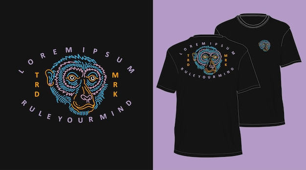 Aap vintage monoline hand getekend t-shirt ontwerp