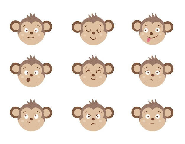 Aapgezichten met verschillende emoties. set van dierlijke emoji-stickers. hoofden met grappige uitdrukkingen geïsoleerd. leuke avatars-collectie