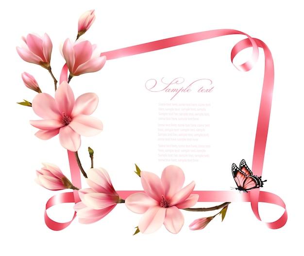 Aardachtergrond met bloesemtak van roze magnolia en lint. vector