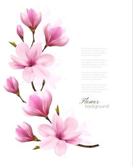 Aardachtergrond met bloesemtak van roze magnolia. vector