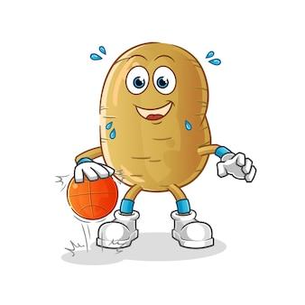 Aardappel dribbel basketbal karakter