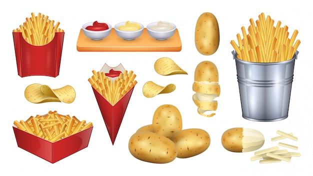 Aardappel fry illustratie. realistische set pictogram plantaardig voedsel.