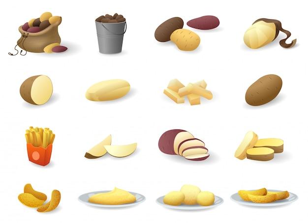 Aardappel iconen set, cartoon stijl