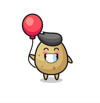 Aardappel mascotte illustratie speelt ballon, schattig stijlontwerp voor t-shirt, sticker, logo-element