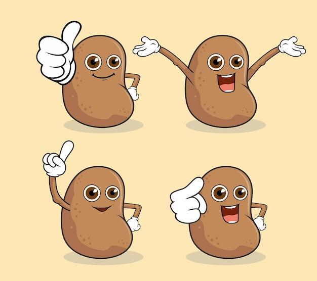 Aardappel mascotte karakter kawaii illustratie
