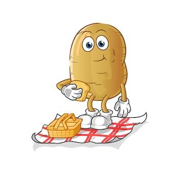 Aardappel op een picknick cartoon