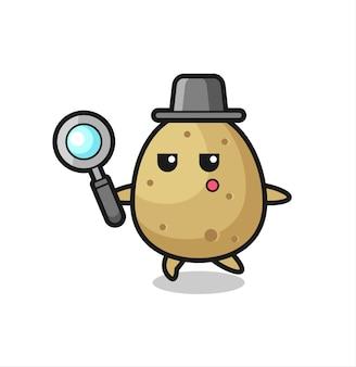Aardappel stripfiguur zoeken met een vergrootglas, schattig stijlontwerp voor t-shirt, sticker, logo-element