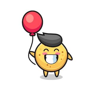Aardappelchip-mascotteillustratie speelt ballon, schattig ontwerp