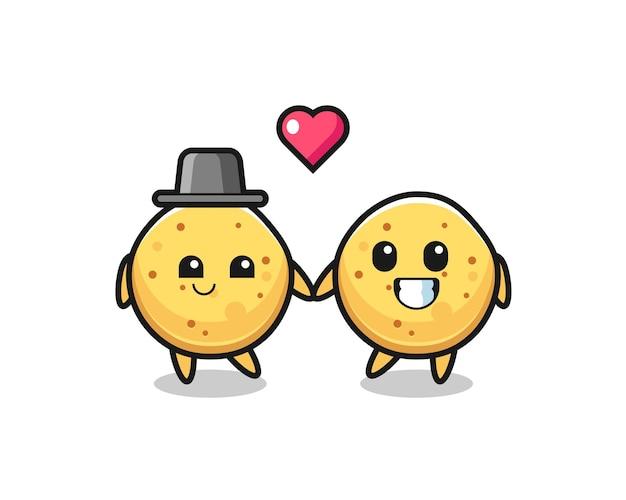 Aardappelchip stripfiguur paar met verliefd gebaar, schattig ontwerp
