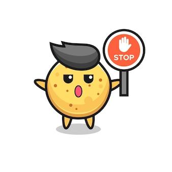 Aardappelchipkarakterillustratie met een stopbord, schattig ontwerp