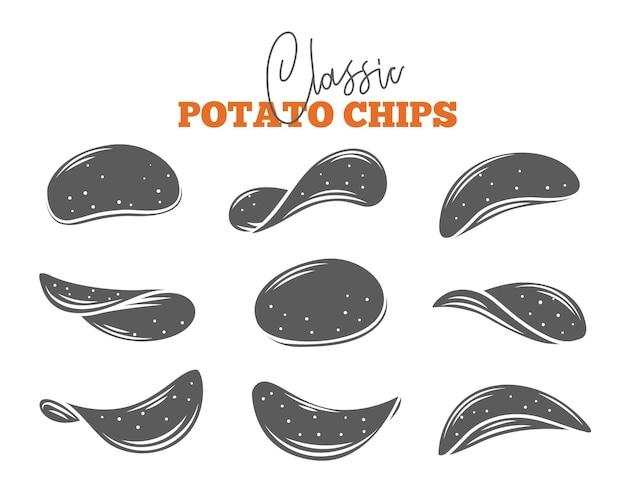 Aardappelchips set. monochroom geïsoleerde knapperige snack, aardappel