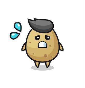 Aardappelmascottekarakter met bang gebaar, schattig stijlontwerp voor t-shirt, sticker, logo-element