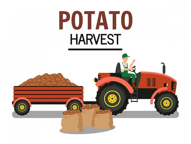 Aardappeloogst in trolley vector illustration