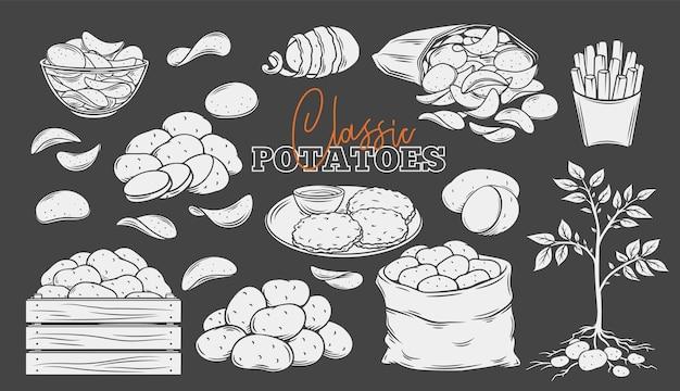 Aardappelproducten glyph iconen set, wit op zwart. gegraveerde monochrome chips, pannenkoeken, frietjes, hele wortelaardappelen. vectorillustratie van oogst groenten.