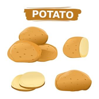 Aardappels die op geïsoleerde witte achtergrond worden geplaatst