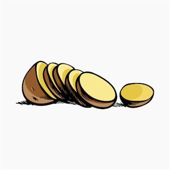 Aardappelschijfjes vector illustratie cartoon clipart