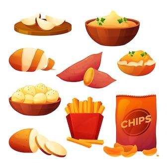 Aardappelvoedselproducten plat pictogrammen