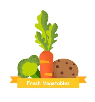 Aardappelwortelen en broccoli op wit