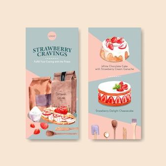 Aardbei bakken flyer sjabloonontwerp met pakket, cheesecake en adverteren aquarel illustratie