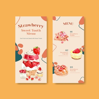 Aardbei bakken flyer sjabloonontwerp voor brochure met cupcake, wafels, cheesecake en shortcake aquarel illustratie