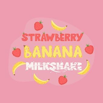 Aardbei banaan milkshake - belettering labelontwerp. illustratie.