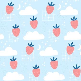 Aardbei in de lucht, schattig kinderpatroon voor stof en behang. naadloze achtergrond met wolken, maan en sterren.