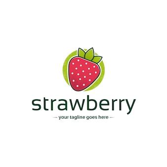Aardbei kleurrijke logo sjabloon