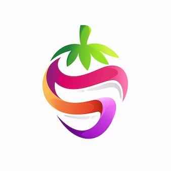 Aardbei logo met letter s concept