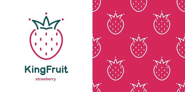 Aardbei met kroon in doodle stijl en naadloos patroon. gestileerd fruit