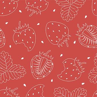 Aardbei naadloos patroon op een roze achtergrond. patroon voor textiel, woondecoratie, babykleding, printen, digitaal papier. vector illustratie.