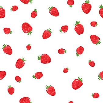 Aardbei patronen, rode aardbeien geïsoleerd op een witte achtergrond. aardbei achtergrond. vector illustratie.