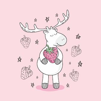 Aardbei rendieren doodle herten cartoon