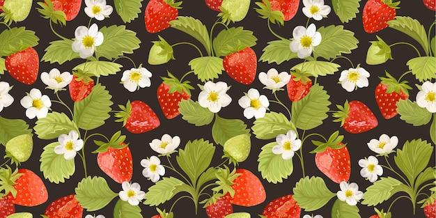 Aardbeiachtergrond met bloemen, wilde bessen, bladeren. naadloze textuur vectorillustratie voor zomerdekking, botanisch behangpatroon, vintage partijachtergrond, huwelijksuitnodiging
