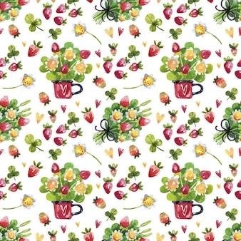 Aardbeibloemen en bessen naadloos patroon