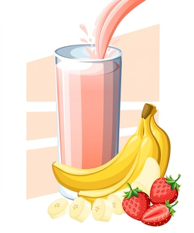 Aardbeien-bananensap. vers fruit en bessensap in glas. sap vloeit en plons in vol glas. illustratie op witte achtergrond. website-pagina en mobiele app