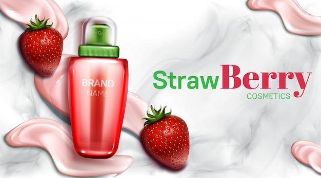 Aardbeien cosmetica fles