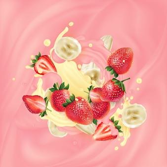 Aardbeien en banaanplakken in roze en gele yoghurt.