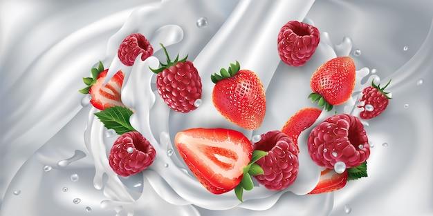 Aardbeien en frambozen in een plons uit een stroom van gieten melk. realistische illustratie.