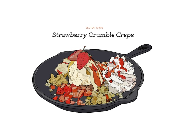 Aardbeien-ijs crêpe