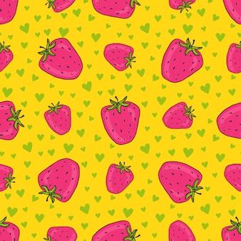 Aardbeien naadloos patroon met groene harten